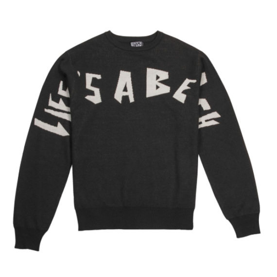 LIFE'S A BEACH LAB Strip Logo Crew Black