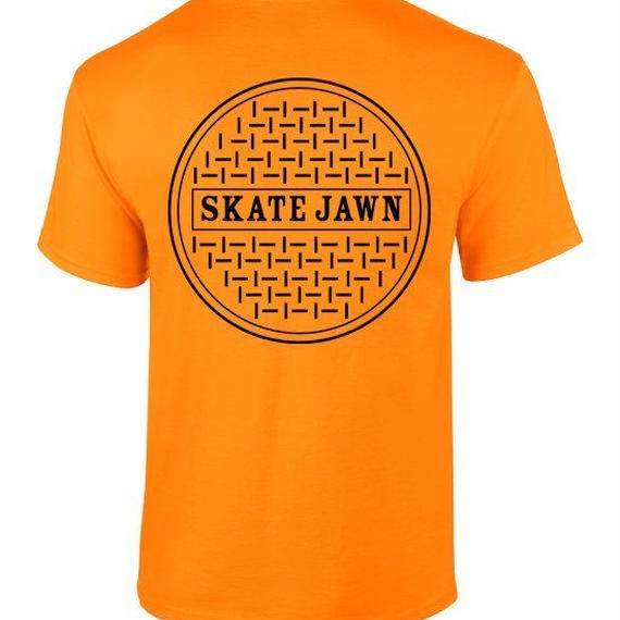Skate Jawn sewer tee orange