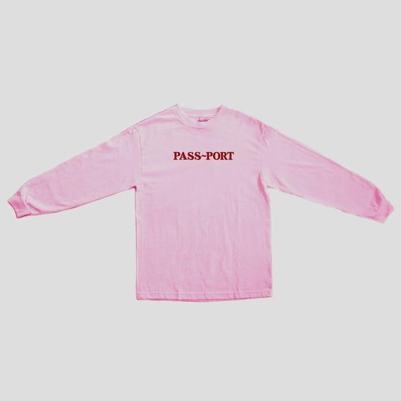 """PASS~PORT """"OFFICIAL EMBROID"""" L/S TEE PINK"""