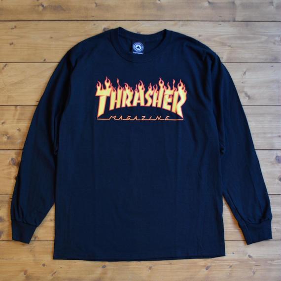 THRASHER Flame Logo Longsleeve T-Shirt - Black