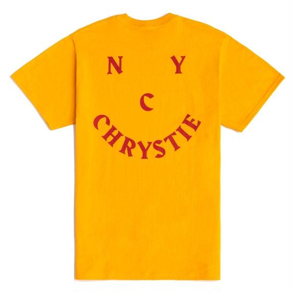 CHRYSTIE NYC SMILE LOGO T-SHIRT / YELLOW
