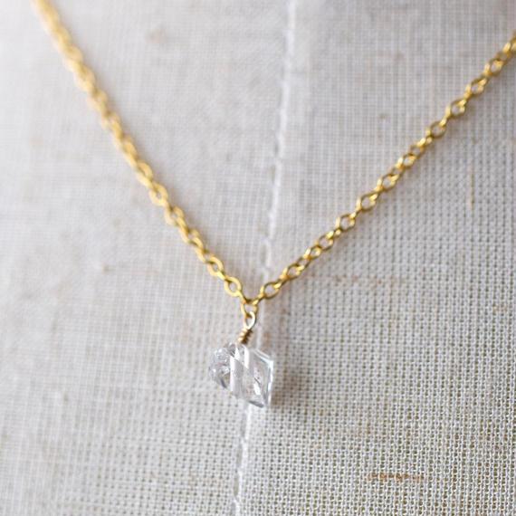 《ハーキマーダイアモンドの首飾り》K14GF・ネックレス・1点もの