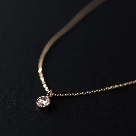 ローズカット・ダイアモンド(ラウンド)ミルグレイン・K10イエローゴールド・ネックレス