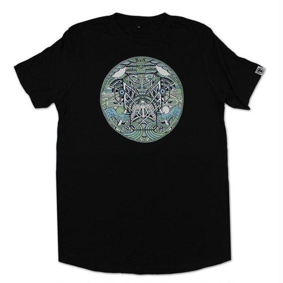METALHEADZ X MUGA - GREEN & BLUE LONG T-SHIRT [BLACK]