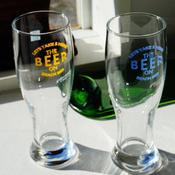 【The Beach Bed】Beer Glass  color:Blue/Yellow