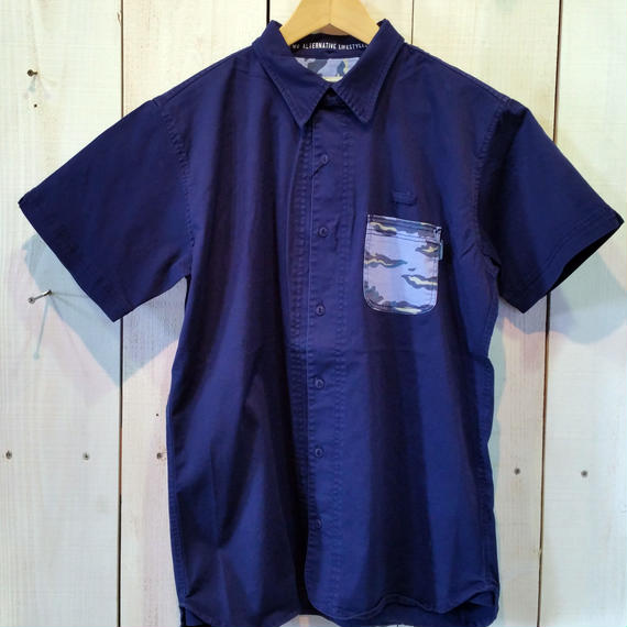 【MAGIC NUMBER】Stretch Twill Island Camo Pocket Shirt  color:Navy
