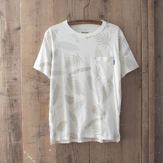 マジックナンバー【MAGIC NUMBER】Basic Cotton Wave Feather Pattern Tee  color:White