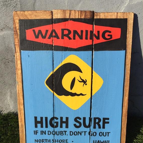 ハワイアン雑貨 ウッドピクチャー HIGH SURF