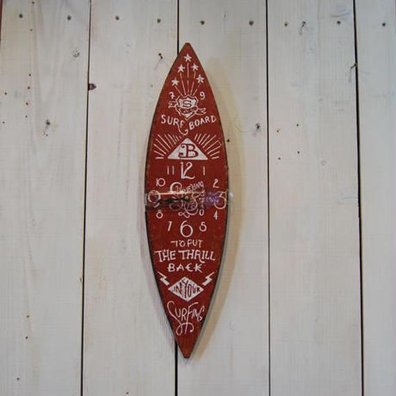 サーフボード クロック 時計 壁掛け時計 オレンジ