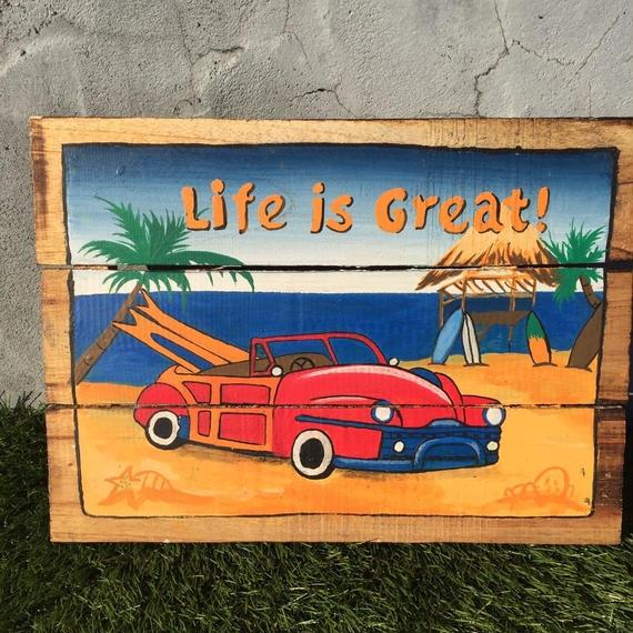 ハワイアン雑貨 ウッドピクチャー Life is Great