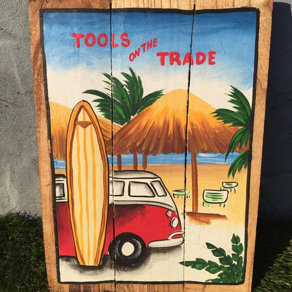 ハワイアン雑貨 ウッドピクチャー TOOLS on the TRADE