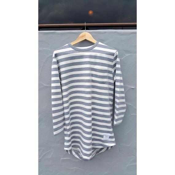 3月Tシャツ祭り!ナスティ【13NASTY】ボーダーロングシャツ カラー:White  × Grey