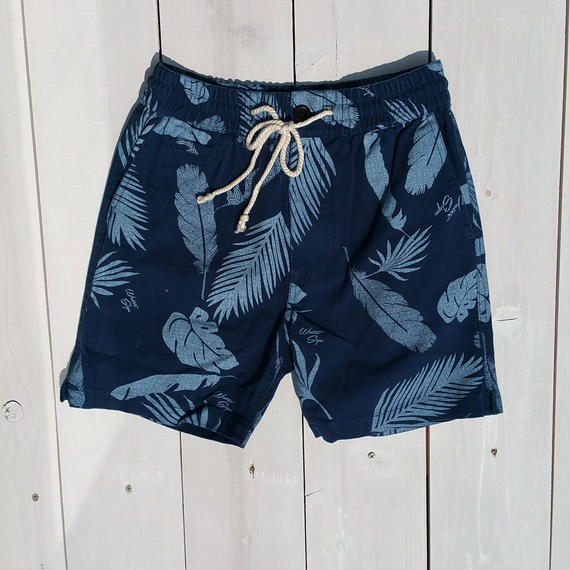 マジックナンバー【MAGIC NUMBER】Canvas Wave Pattern Feather Short Pants   color:Navy