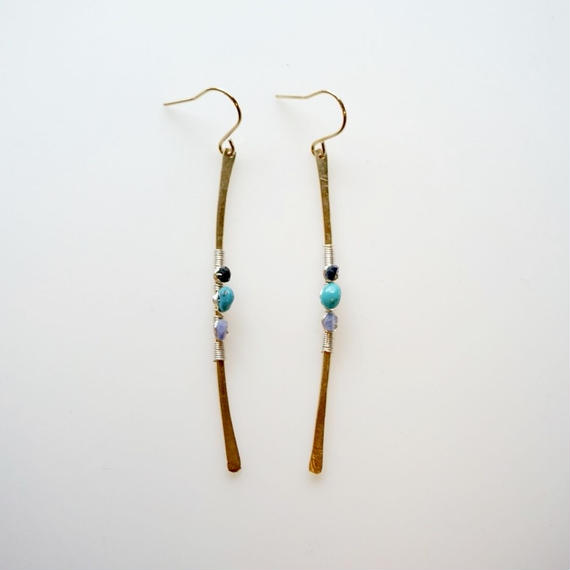 Turquoise line earring