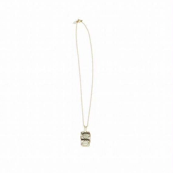 Bottle of water ネックレス Green amethyst, Pyrite