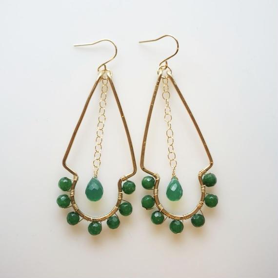Sunny earring -Green onyx