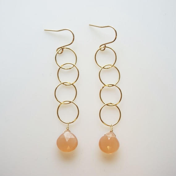 Orange moonstone long ring earring