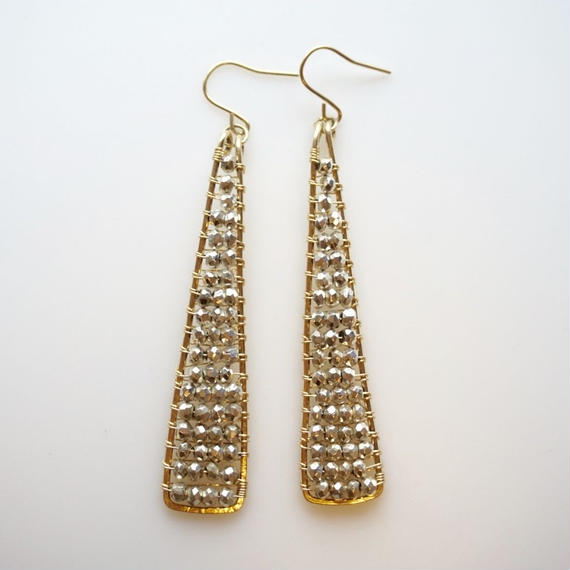 Pyrite triangle earring