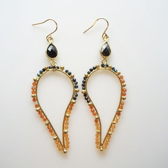 ORANGE x BLACK dot paisley earring