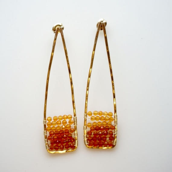Orange acute earring