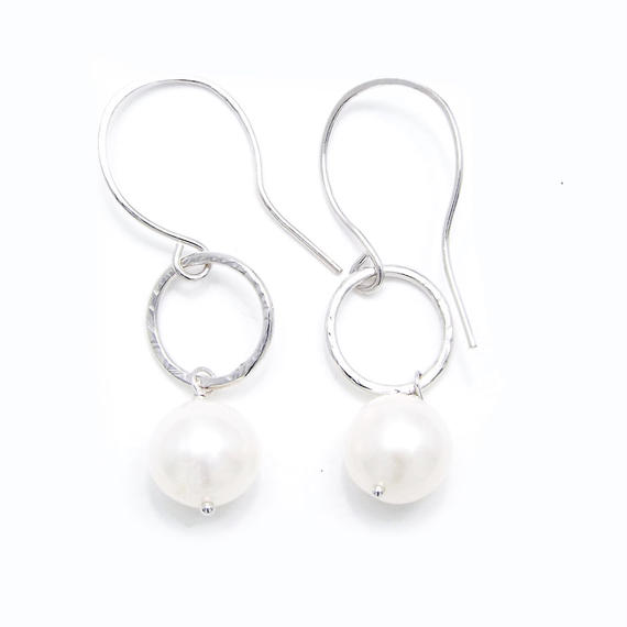 Pearl silver ring earring - Silver