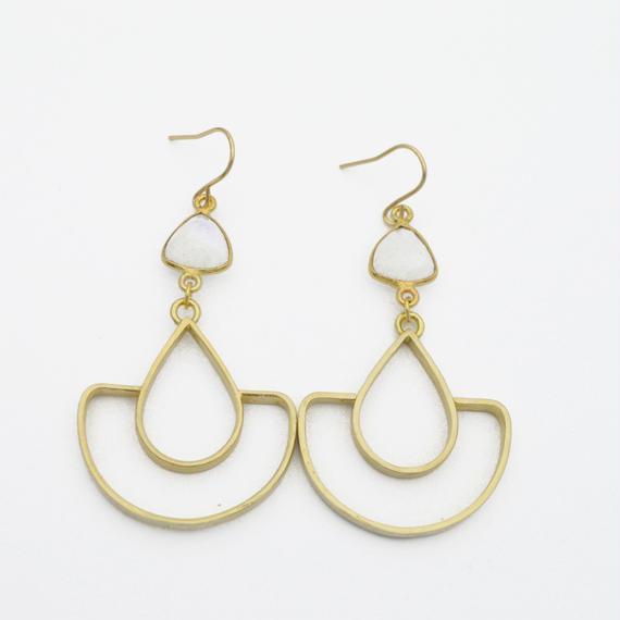 Moonstone arch earring