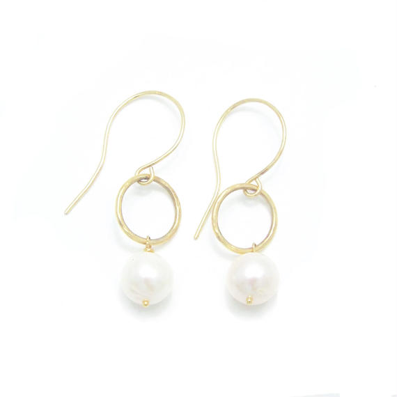 Pearl ring earring - Gold