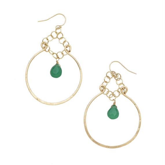 14k gold filled Mr, Smiley earring-Green onyx