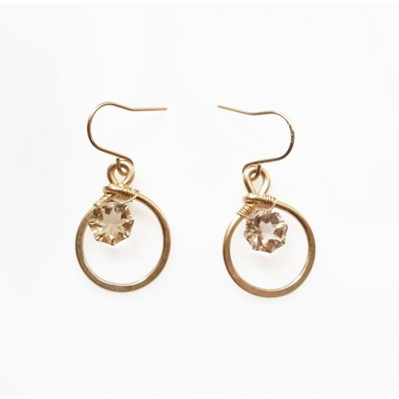 Little sparkle earring- Champagne quartz