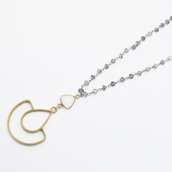 Iolite, Moonstone arch necklace