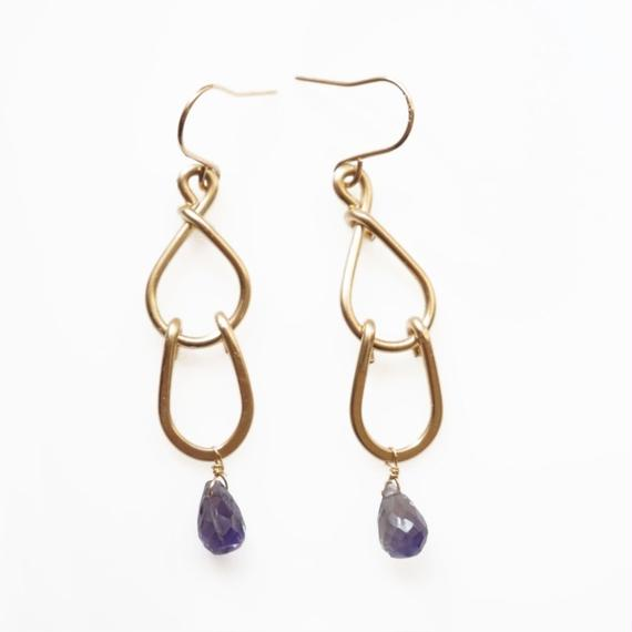Double drop earring - Iolite