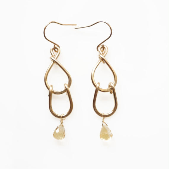Double drop earring - Citrine