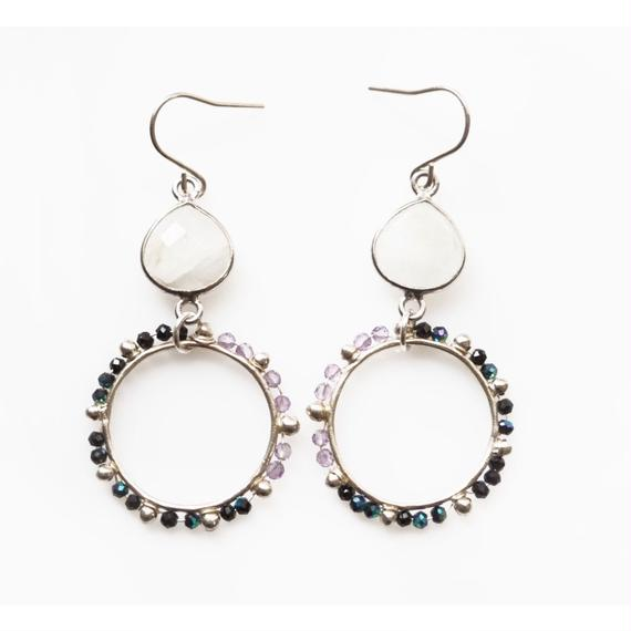 PURPLE x BLACK dot circle earring