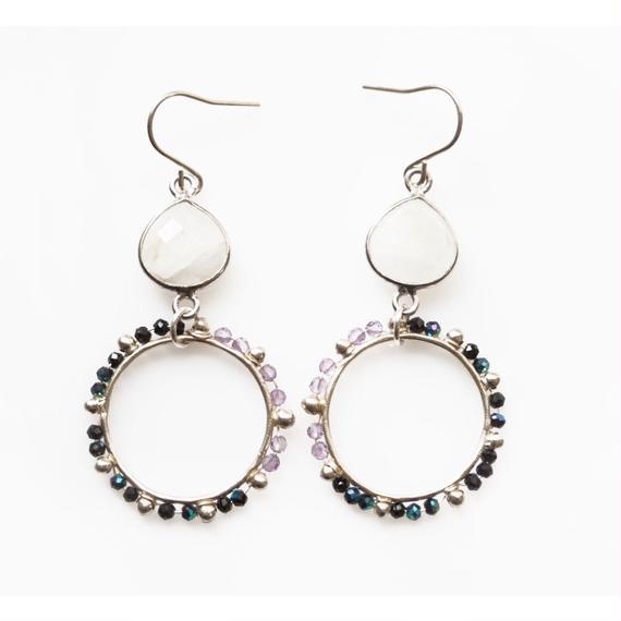 PURPLE x BLACK dot circle earring