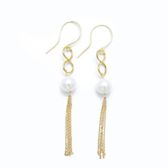 Pearl infinity long chain earring - Gold