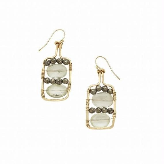 14k gold filled  Bottle of water earring- Green amethyst, Pyrite