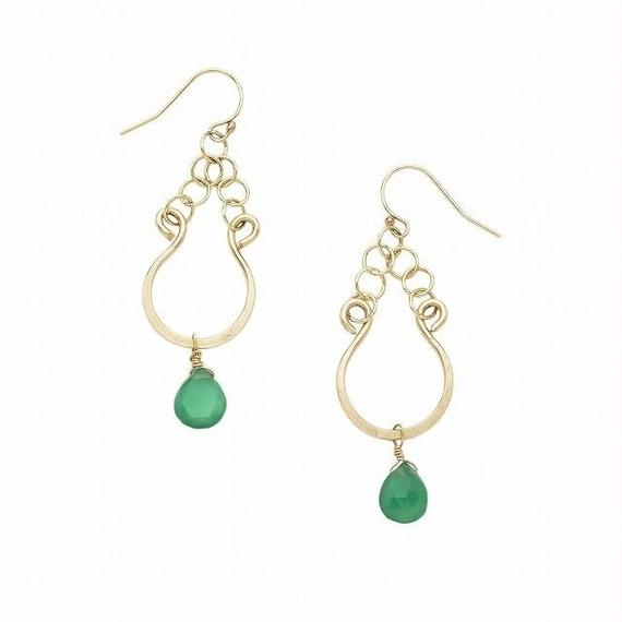 14k gold filled  Petit smily earring- Green Onyx