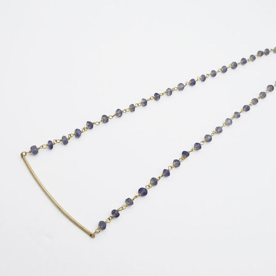 Iolite cross bar necklace