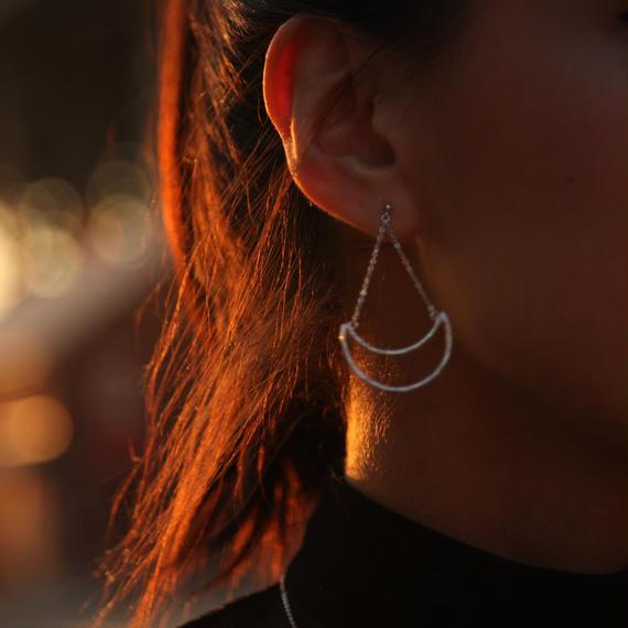 Silver moon earring