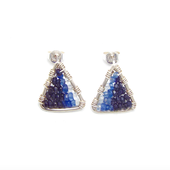 Blue sapphire triangle earring
