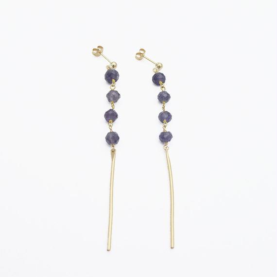 Iolite line earring