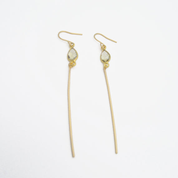 Lemon quartz line earring