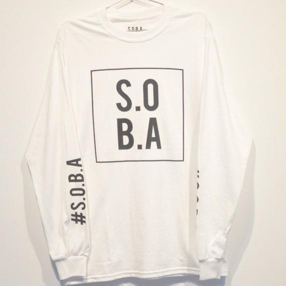 S.O.B.A フロントBOXプリントロングスリーブTシャツ