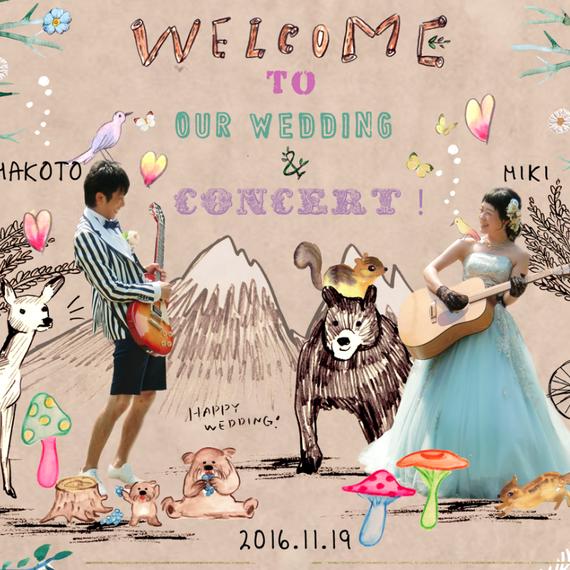 WEDDING ボード♡ 贈り物用似顔絵制作☆
