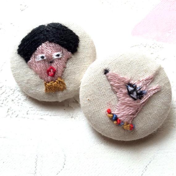 刺繍ボタン♡ ひろしと愛犬2つセット