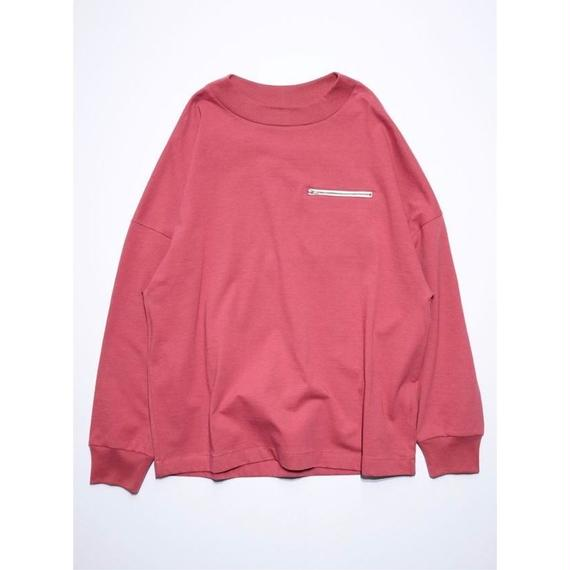 OUTSIZE DROP ZIP POCKET L/S TEE (RED)
