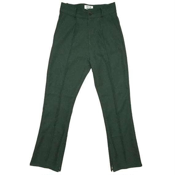 BOOT CUT STA-PREST PANTS (DARK GREEN)