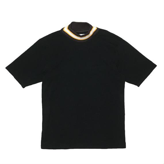MOCK NECK LINE RIB OVER SLEEVE TEE  (BLACK)