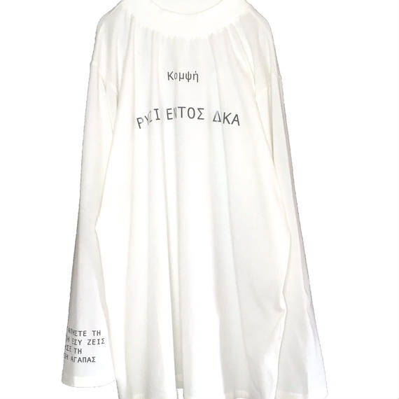 GREEK MOCK NECK L/S TEE  (WHITE)