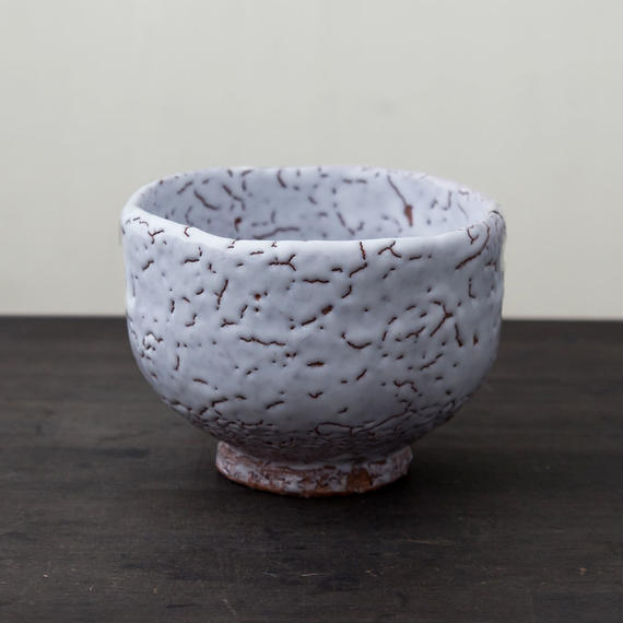 陶器 萩焼 輪花 白萩野点 抹茶碗(木箱入) 中村国輔 作
